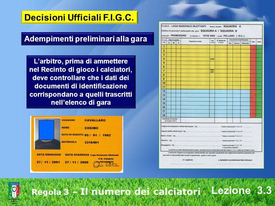 Lezione 3.3 Decisioni Ufficiali F.I.G.C.
