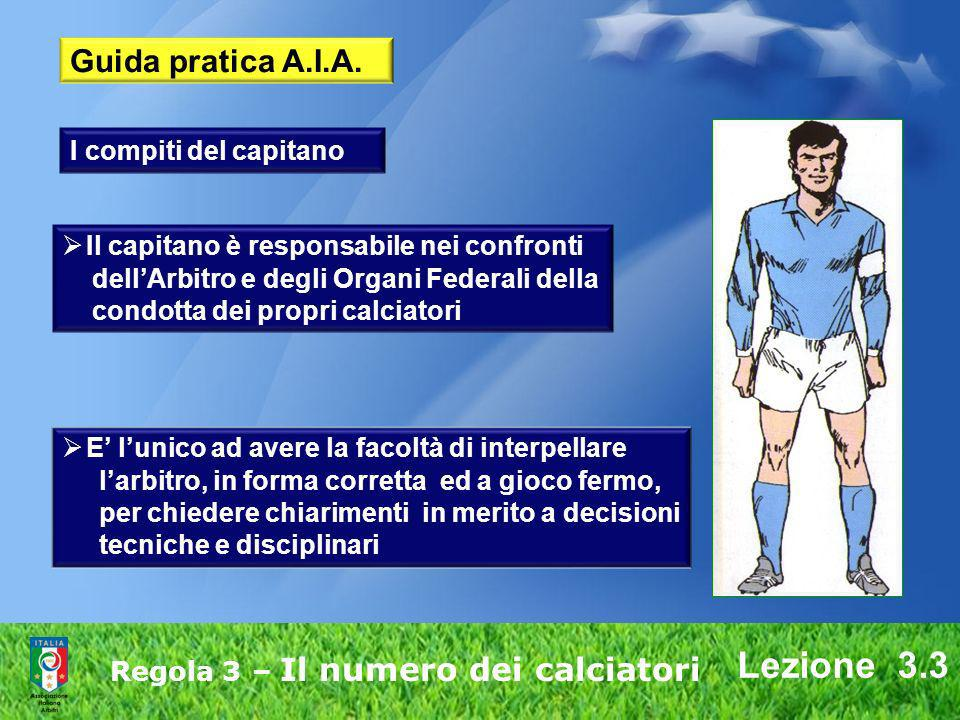 Regola 3 – Il numero dei calciatori