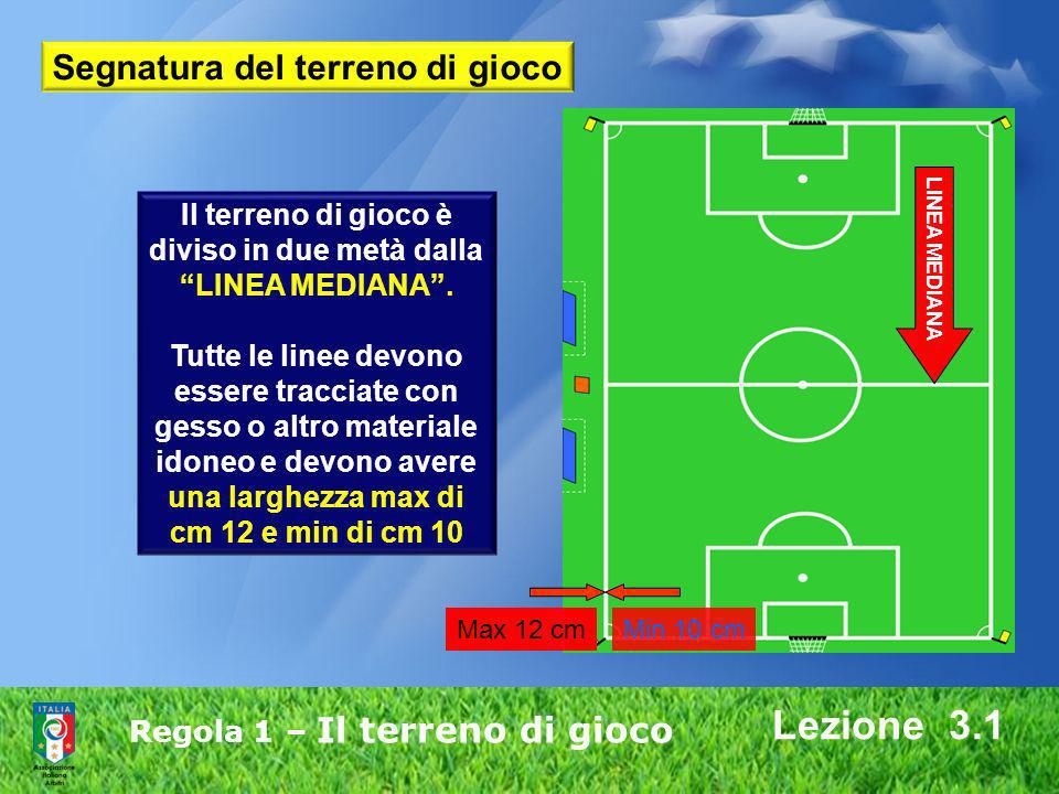 Lezione 3.1 Segnatura del terreno di gioco Il terreno di gioco è