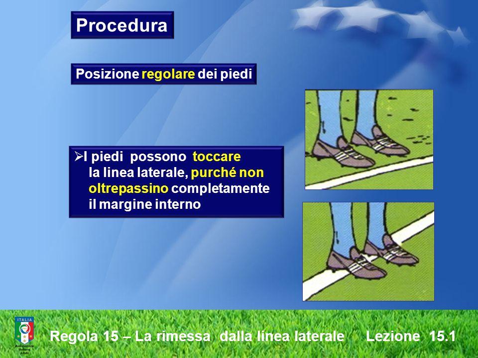 Procedura Regola 15 – La rimessa dalla linea laterale Lezione 15.1