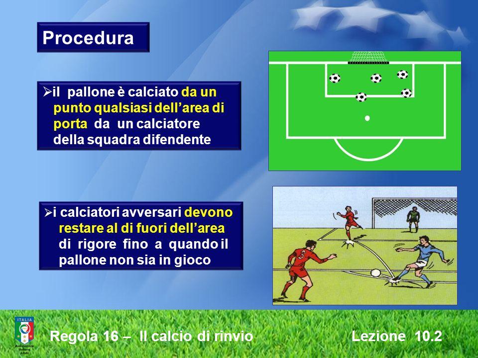 Procedura Regola 16 – Il calcio di rinvio Lezione 10.2