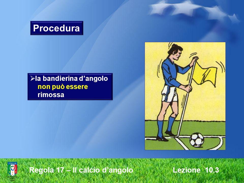 Procedura Regola 17 – Il calcio d'angolo Lezione 10.3