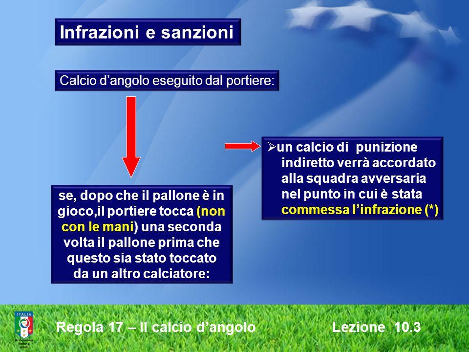 Infrazioni e sanzioni Regola 17 – Il calcio d'angolo Lezione 10.3