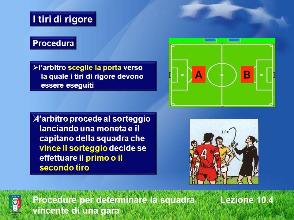 A B I tiri di rigore Procedure per determinare la squadra Lezione 10.4