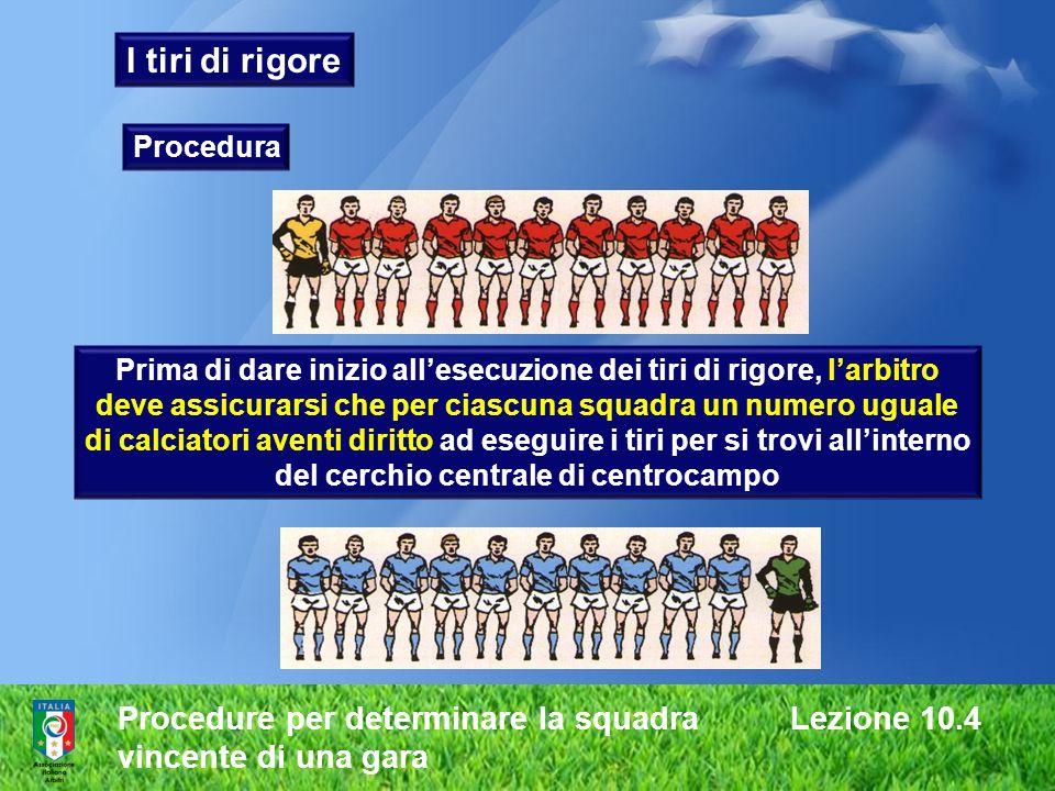 I tiri di rigore Procedure per determinare la squadra Lezione 10.4
