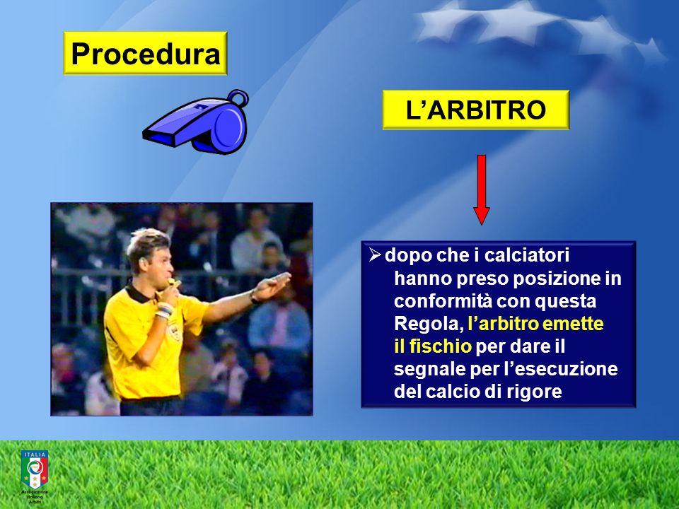 Procedura L'ARBITRO dopo che i calciatori hanno preso posizione in