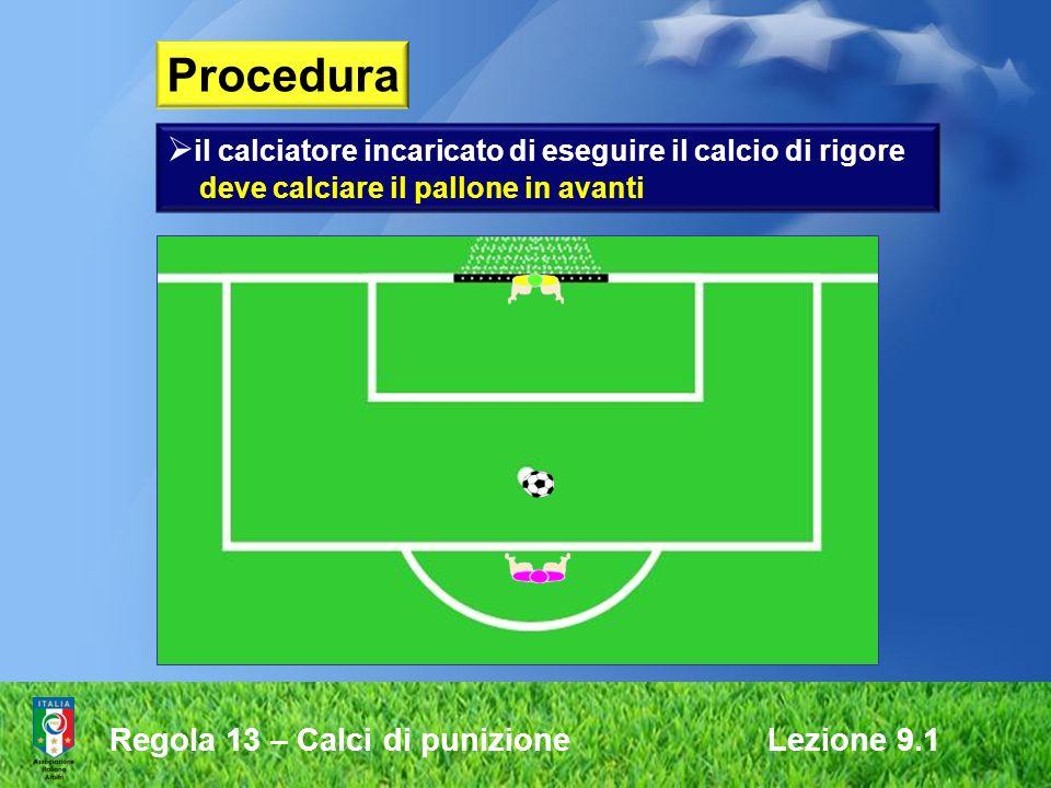 Procedura il calciatore incaricato di eseguire il calcio di rigore