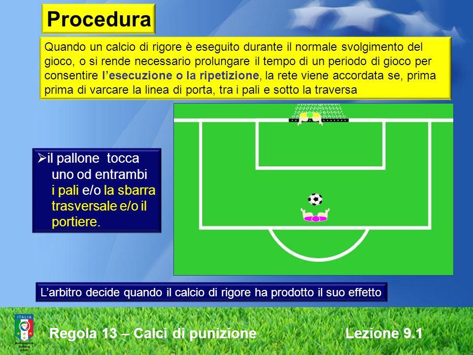 Procedura Regola 13 – Calci di punizione Lezione 9.1 il pallone tocca