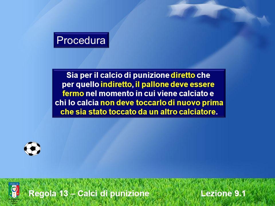 Procedura Regola 13 – Calci di punizione Lezione 9.1