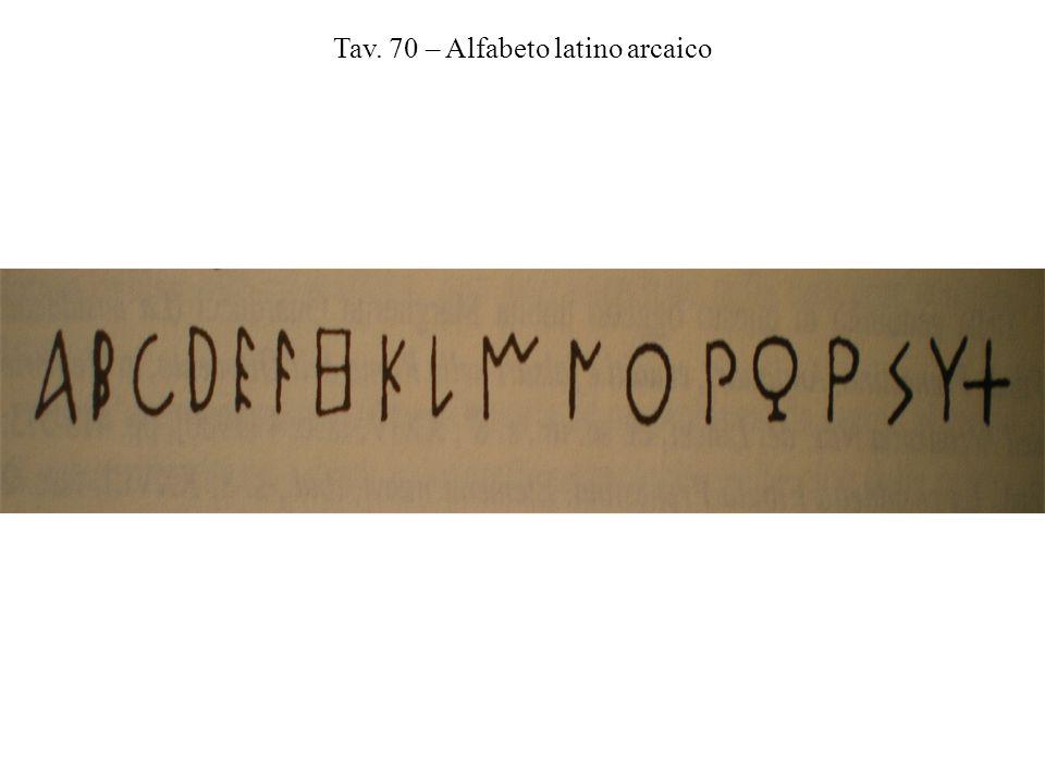 Tav. 70 – Alfabeto latino arcaico