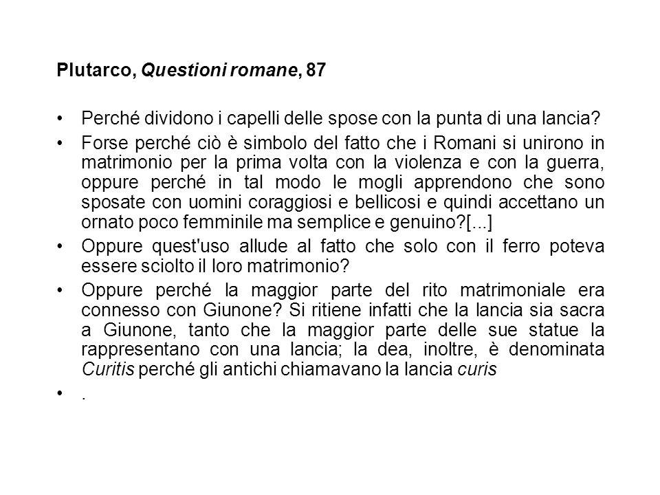 Plutarco, Questioni romane, 87
