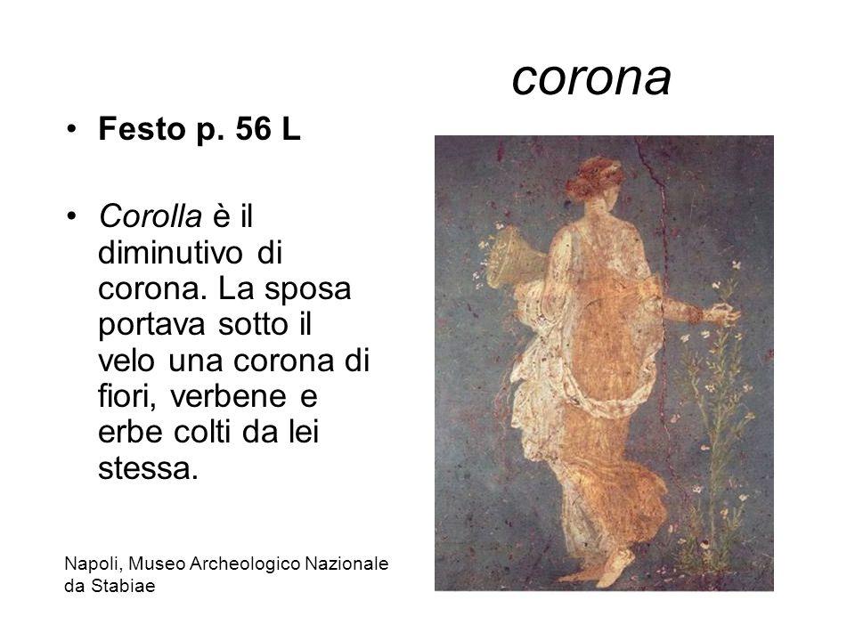 corona Festo p. 56 L. Corolla è il diminutivo di corona. La sposa portava sotto il velo una corona di fiori, verbene e erbe colti da lei stessa.