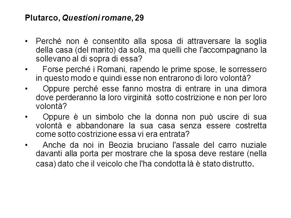 Plutarco, Questioni romane, 29