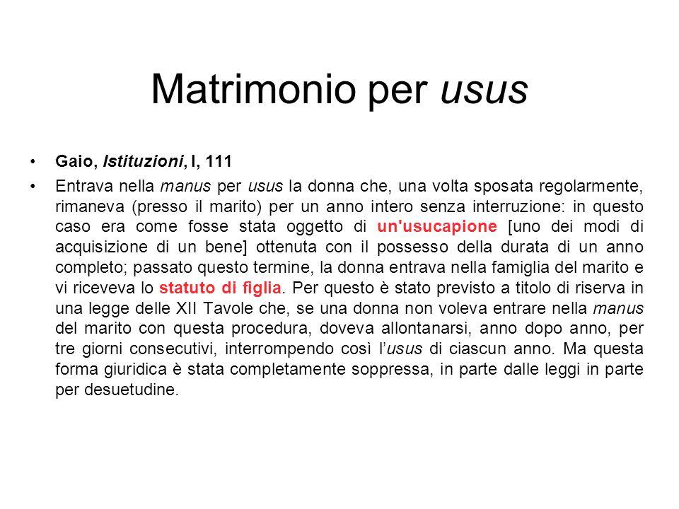 Matrimonio per usus Gaio, Istituzioni, l, 111