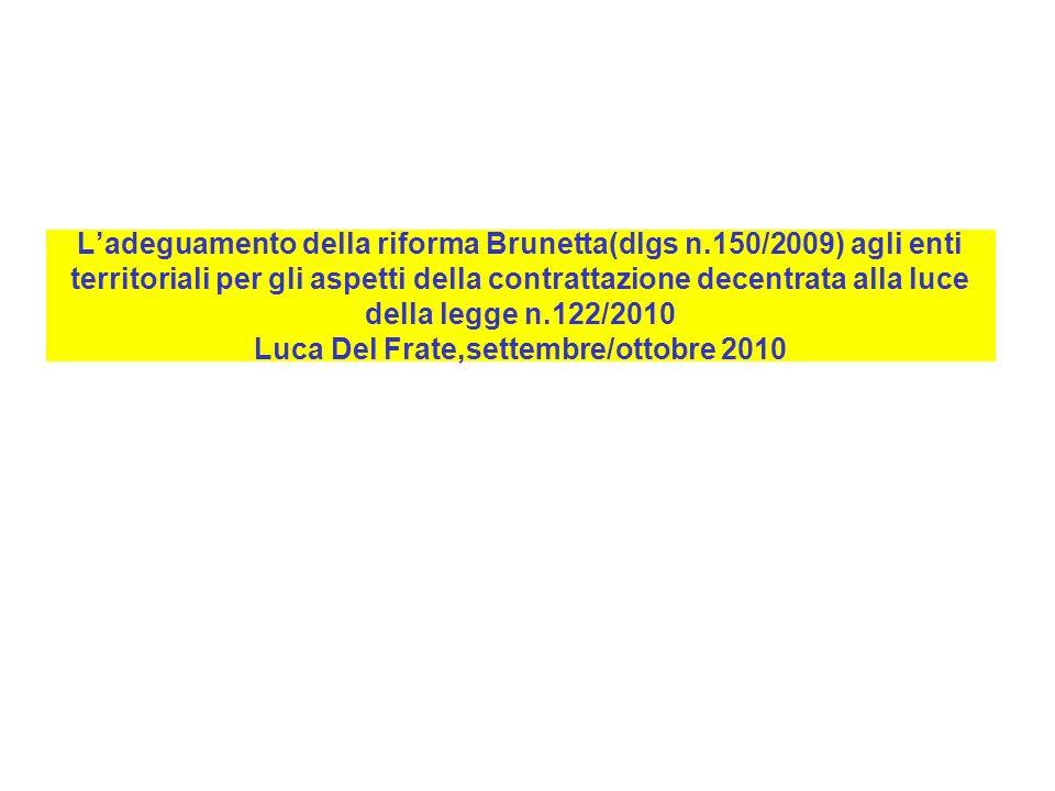 L'adeguamento della riforma Brunetta(dlgs n
