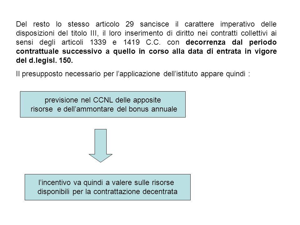 previsione nel CCNL delle apposite