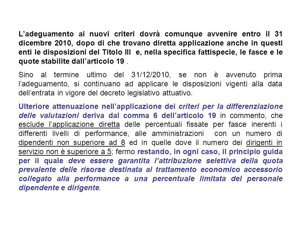 L'adeguamento ai nuovi criteri dovrà comunque avvenire entro il 31 dicembre 2010, dopo di che trovano diretta applicazione anche in questi enti le disposizioni del Titolo III e, nella specifica fattispecie, le fasce e le quote stabilite dall'articolo 19 .