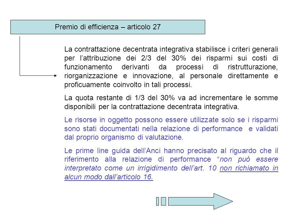 Premio di efficienza – articolo 27
