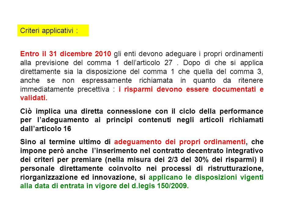 Criteri applicativi :