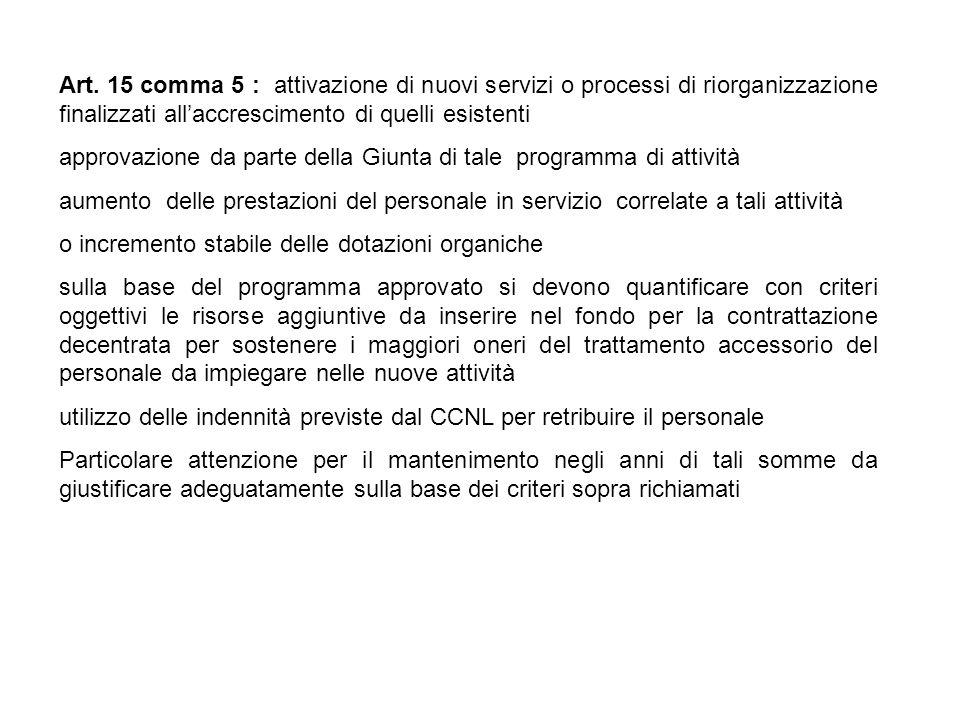 Art. 15 comma 5 : attivazione di nuovi servizi o processi di riorganizzazione finalizzati all'accrescimento di quelli esistenti