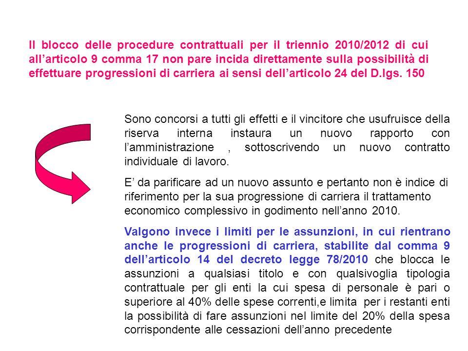 Il blocco delle procedure contrattuali per il triennio 2010/2012 di cui all'articolo 9 comma 17 non pare incida direttamente sulla possibilità di effettuare progressioni di carriera ai sensi dell'articolo 24 del D.lgs. 150
