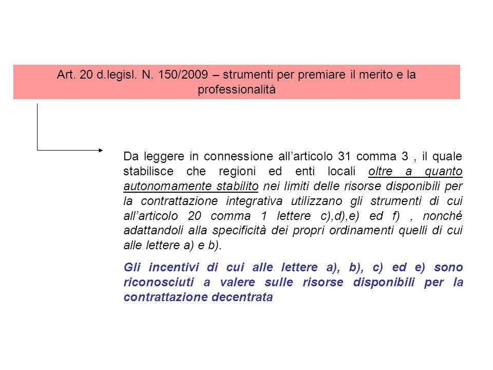 Art. 20 d.legisl. N. 150/2009 – strumenti per premiare il merito e la professionalità
