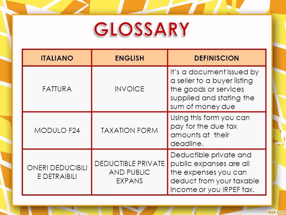 GLOSSARY ITALIANO ENGLISH DEFINISCION FATTURA INVOICE