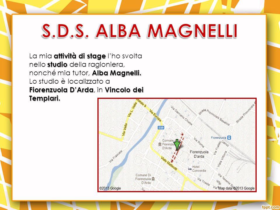 S.D.S. ALBA MAGNELLI La mia attività di stage l'ho svolta nello studio della ragioniera, nonché mia tutor, Alba Magnelli.