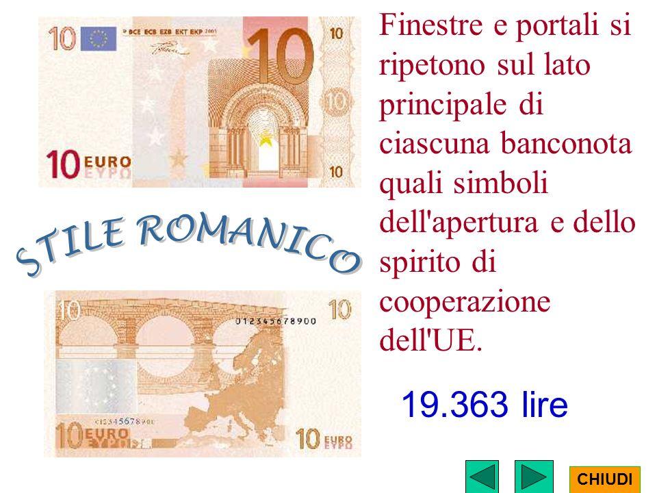 Finestre e portali si ripetono sul lato principale di ciascuna banconota quali simboli dell apertura e dello spirito di cooperazione dell UE.