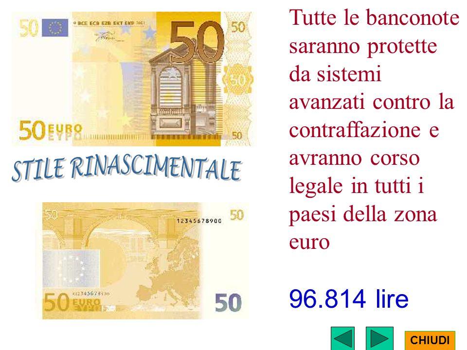 Tutte le banconote saranno protette da sistemi avanzati contro la contraffazione e avranno corso legale in tutti i paesi della zona euro