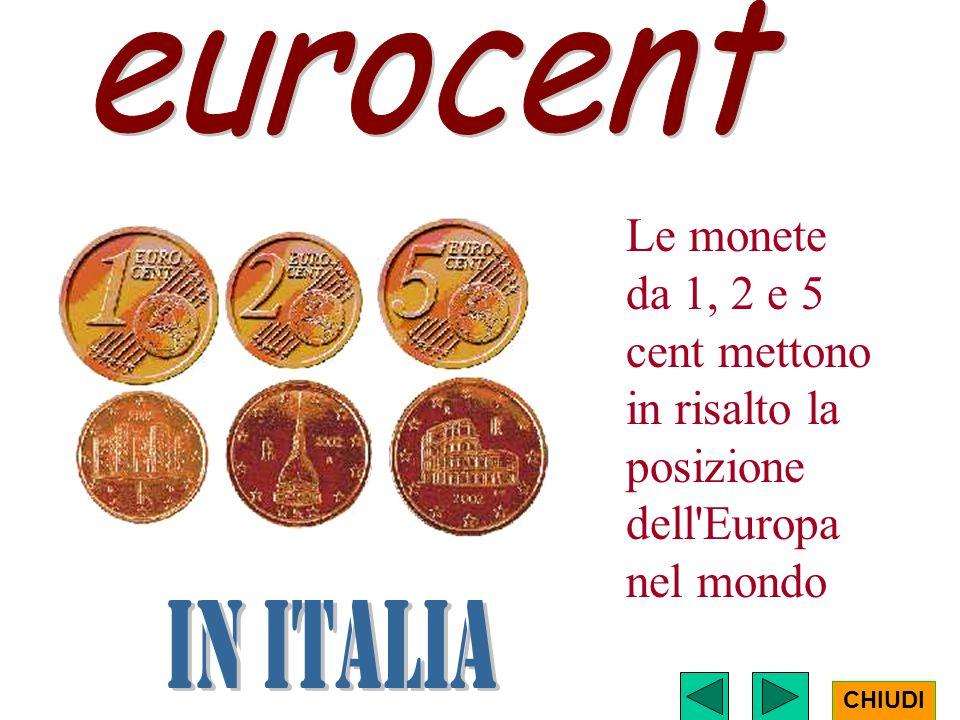eurocent Le monete da 1, 2 e 5 cent mettono in risalto la posizione dell Europa nel mondo. in ITALIA.