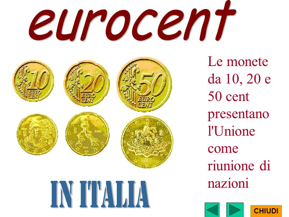 eurocent Le monete da 10, 20 e 50 cent presentano l Unione come riunione di nazioni.