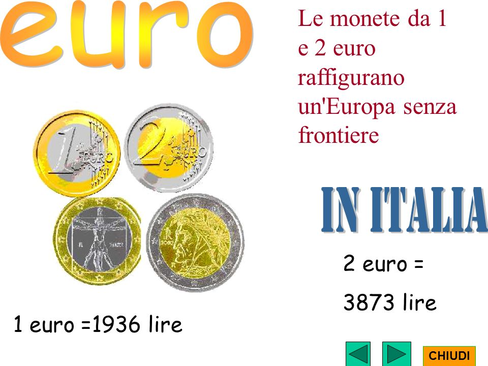 Le monete da 1 e 2 euro raffigurano un Europa senza frontiere