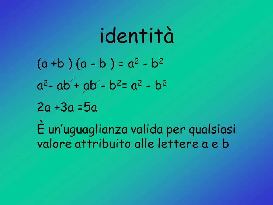 identità (a +b ) (a - b ) = a2 - b2 a2- ab + ab - b2= a2 - b2
