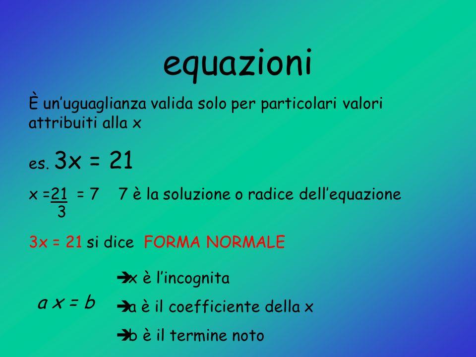 equazioni È un'uguaglianza valida solo per particolari valori attribuiti alla x. es. 3x = 21.