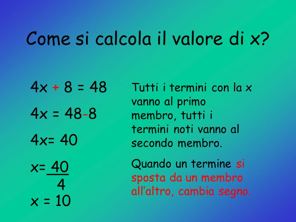 Come si calcola il valore di x