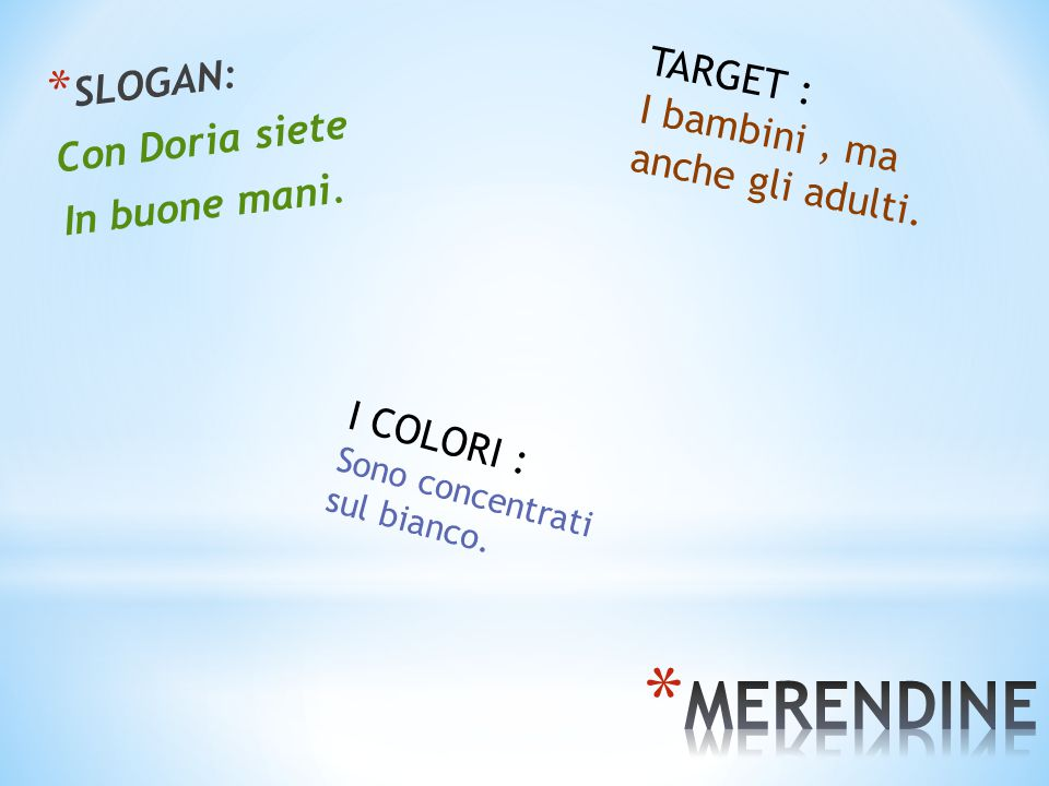 MERENDINE SLOGAN: TARGET : Con Doria siete