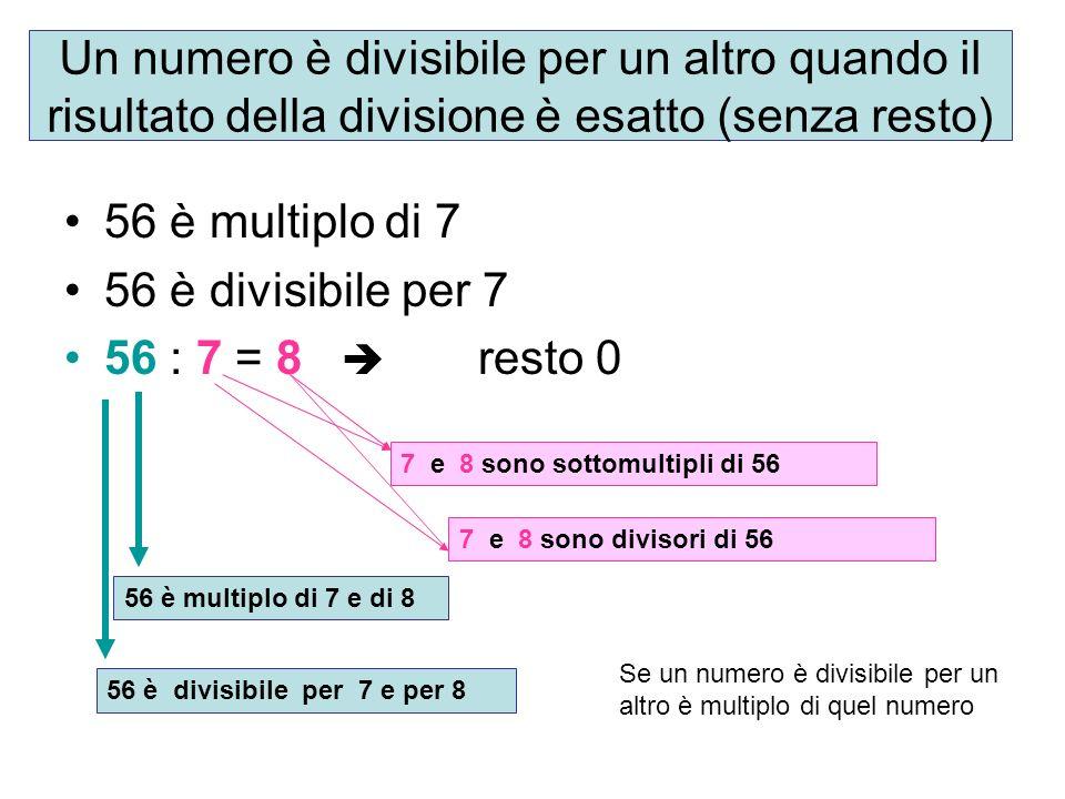 Un numero è divisibile per un altro quando il risultato della divisione è esatto (senza resto)