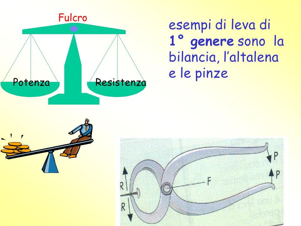 esempi di leva di 1° genere sono la bilancia, l'altalena e le pinze