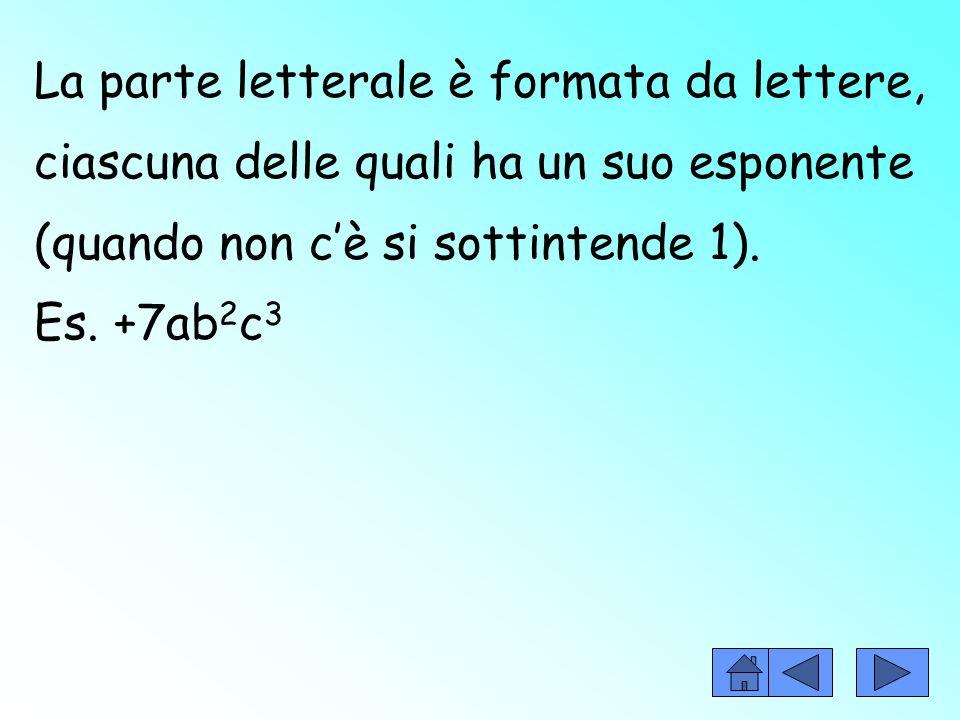 La parte letterale è formata da lettere, ciascuna delle quali ha un suo esponente (quando non c'è si sottintende 1).
