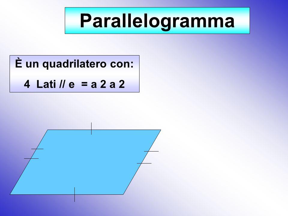 Parallelogramma È un quadrilatero con: 4 Lati // e = a 2 a 2