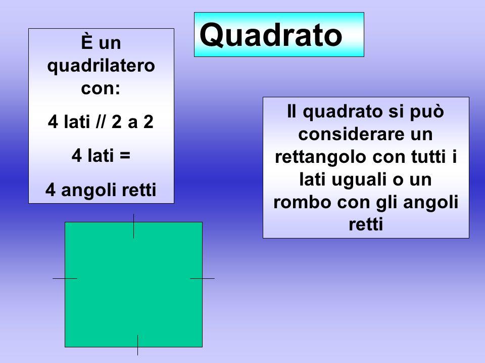Quadrato È un quadrilatero con: 4 lati // 2 a 2 4 lati =