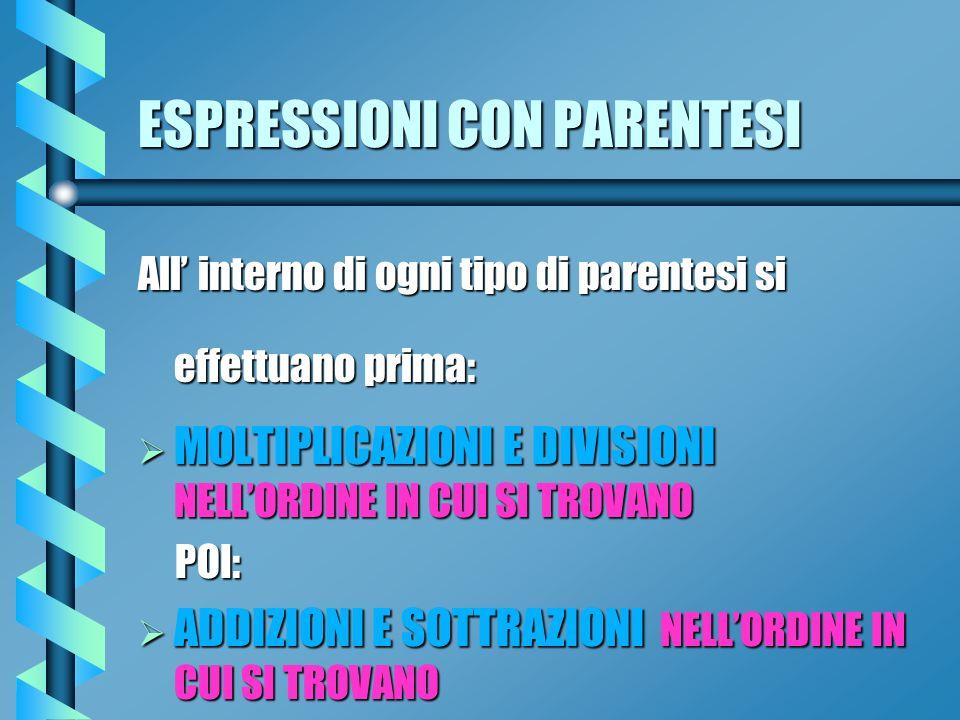 ESPRESSIONI CON PARENTESI