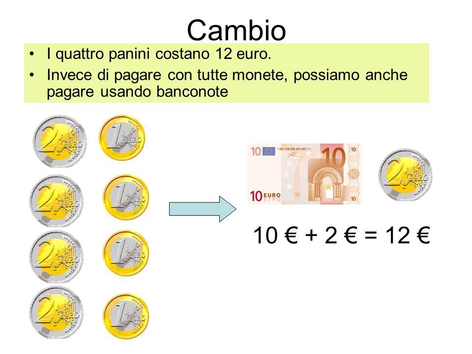 Cambio 10 € + 2 € = 12 € I quattro panini costano 12 euro.