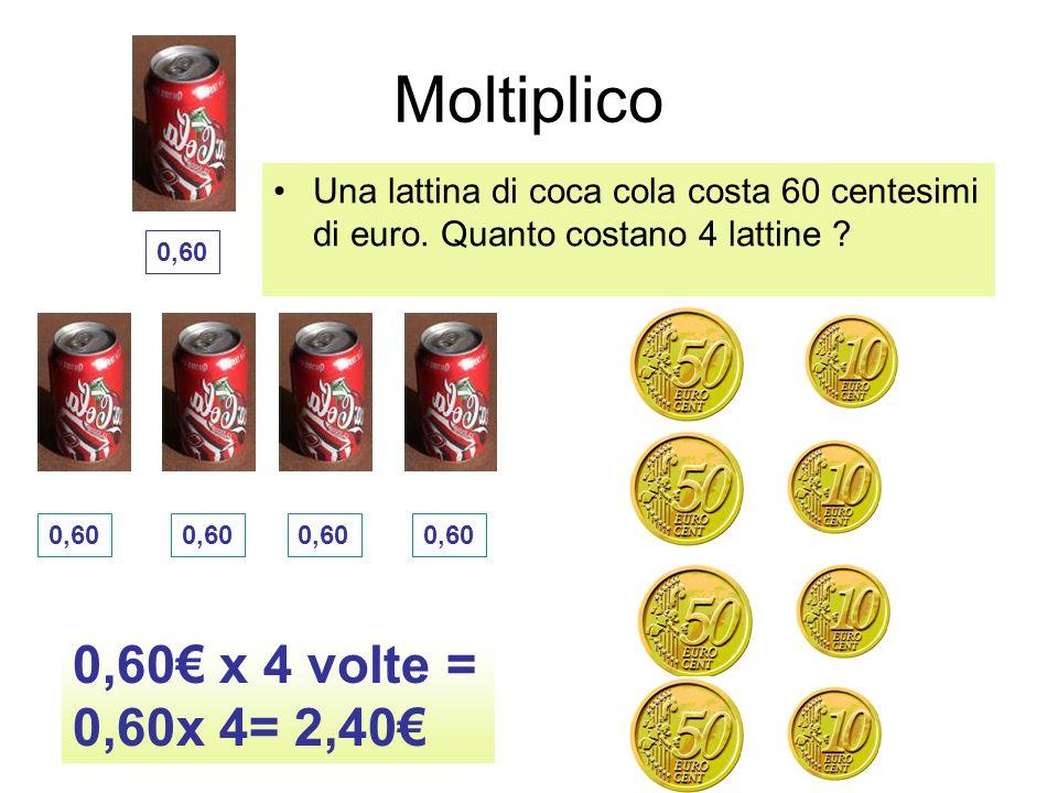 Moltiplico 0,60€ x 4 volte = 0,60x 4= 2,40€