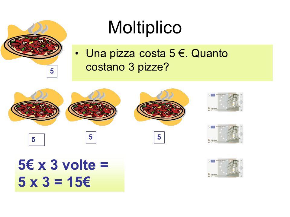 Moltiplico 5€ x 3 volte = 5 x 3 = 15€