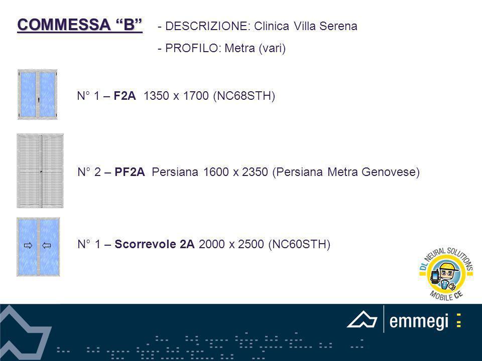 COMMESSA B DESCRIZIONE: Clinica Villa Serena PROFILO: Metra (vari)
