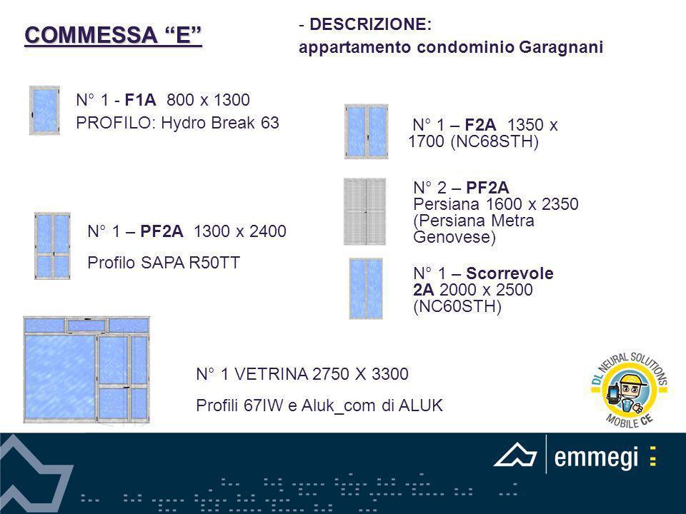 COMMESSA E DESCRIZIONE: appartamento condominio Garagnani