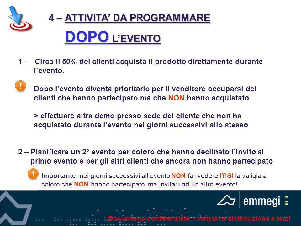 4 – ATTIVITA' DA PROGRAMMARE DOPO L'EVENTO