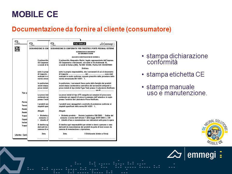 Documentazione da fornire al cliente (consumatore)